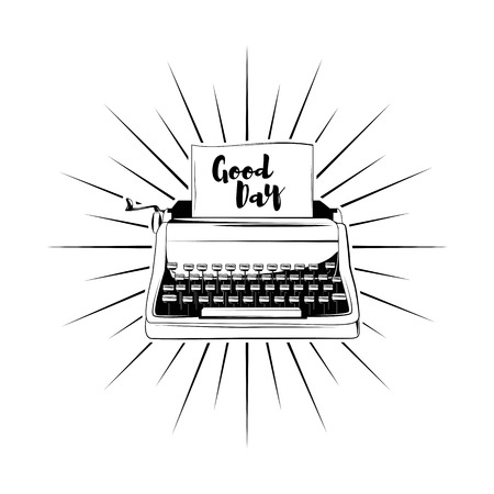 typewriter in beams with words good day icons. Vector illustration isolated on white background.