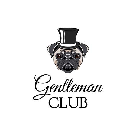 Cane del carlino che indossa in cappello a cilindro. Gentleman Club. Illustrazione vettoriale isolato su sfondo bianco