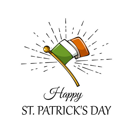 Saint Patrick s Day. Vector holiday concept with Irish national flag in beams. 일러스트
