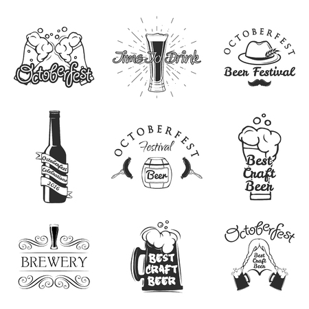 Beer pub labels set. Logo design elements. Brewery beer label, brewery logo and badge, vector illustration isolated on white background. Octoberfest emblems. Çizim