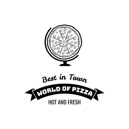 Pizza globe dans le style mince ligne isolé sur fond blanc. collection de fruits de mer. illustration vectorielle Banque d'images - 96578725