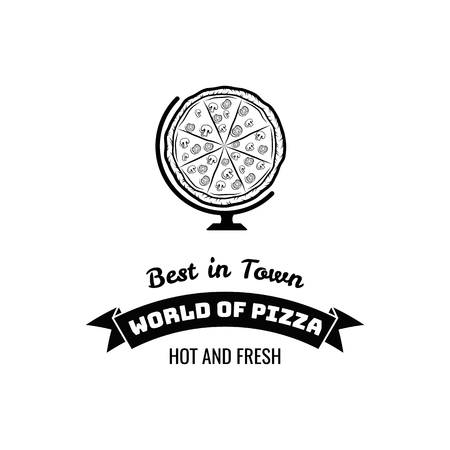 Pizza Globe in thin line style isolated on white background. Food silhouette. Vector illustration.