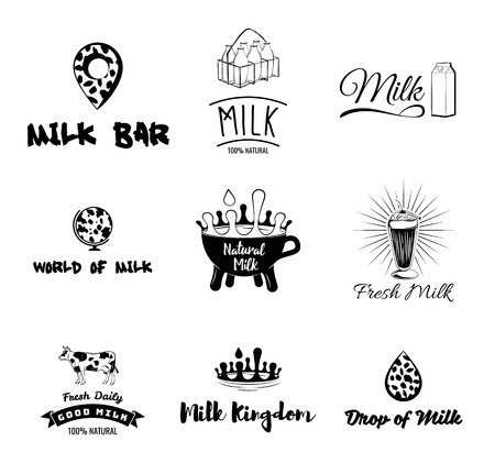 Cows milk labels, emblems, icons and design elements. Fresh milk from the farm, Vector illustration isolated on white background.