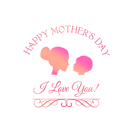 Illustration of mother and baby.   Young mother hugging her baby. Mother and daughter . Vector illustration.