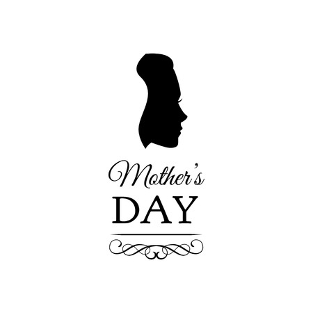 Mother s day card. Cute vintage frames with woman s silhouettes. Vector illustration with swirls and ornate frames. Illustration