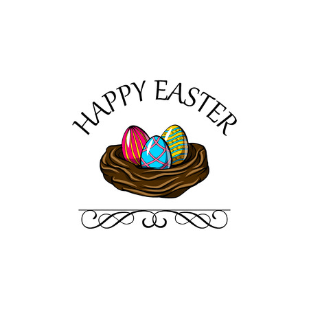 Hand drawn vector illustration. Happy Easter Spring nest with bird eggs.