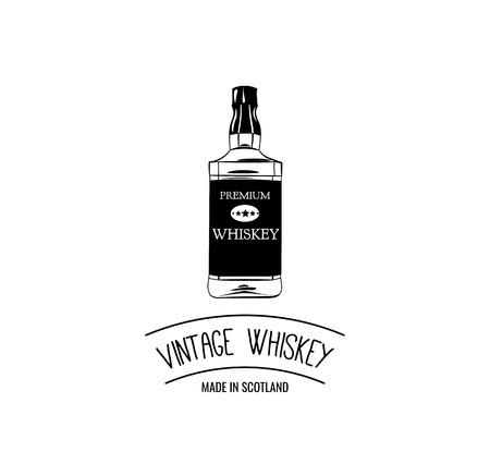 Hand drawing of whiskey bottle. Premium quality  Vintage Vector illustration.  イラスト・ベクター素材