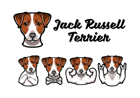 Jack Russell Terrier with different gestures. Vector Illustration of a dog. Vettoriali