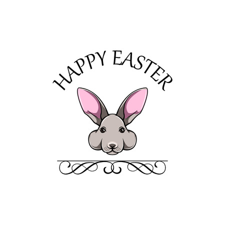 Easter Bunny face. Happy Easter greeting card. Vector illustration with swirls.