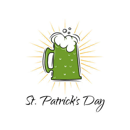 St. Patricks Day banner with beer mug in beams. Vector illustration isolated on white background.