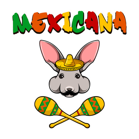 Hare rabbit face. Bunny with sombrero and maracas. Vector illustration with text Mexicana.