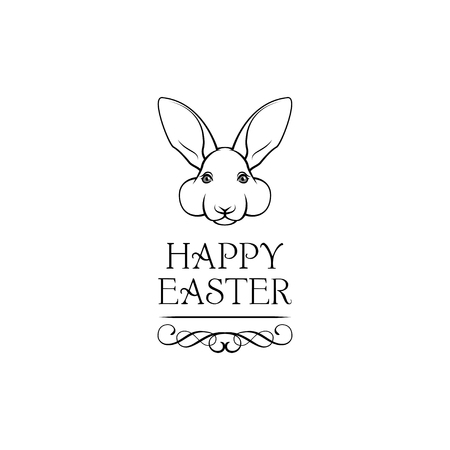 Easter rabbit, easter Bunny. Happy Easter lettering. Vector illustration isolated on white background. Stock Illustratie