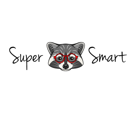 Raccoon geek. Raccoon wearing in smart glasses. Super smart lettering. Vector illustration, isolated on white background. Illustration
