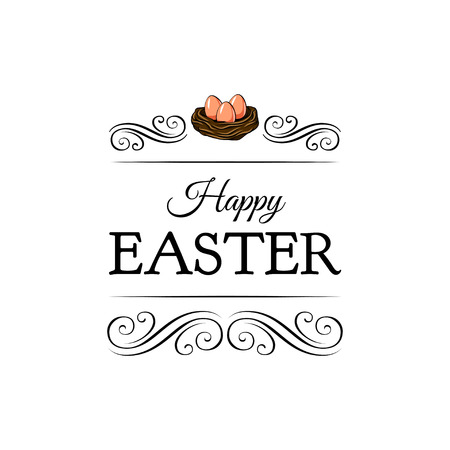 Nest with three eggs on white background. Happy Easter lettering. Vector illustration in vintage style. Illustration