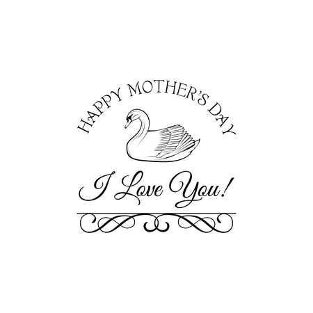 Happy Mothers Day greeting card template with swan design.