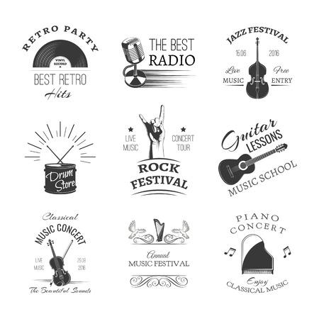 Conjunto de festival de jazz o concierto en vivo diseño de logotipo ilustración. Logos