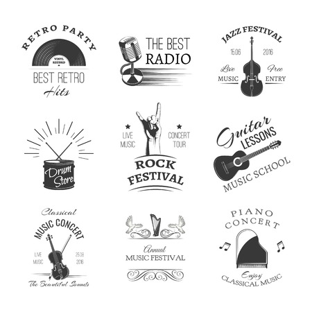 Set of jazz festival or live concert logo design illustration.