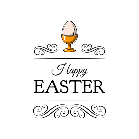 Happy easter day greeting with egg holder. Vector illustration isolated on white backgraund. Фото со стока - 96819971