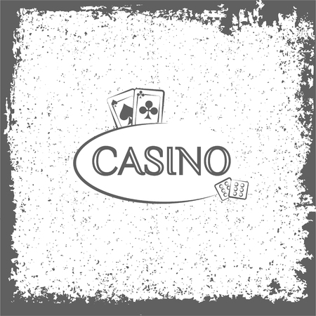 Casino label. Playing cards. Vector illustration vintage