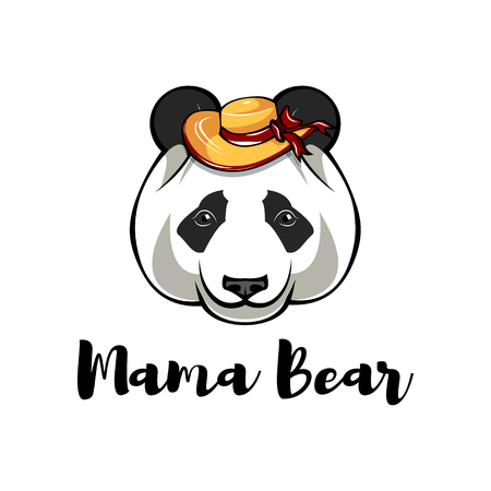 Panda in Wide-brimmed hat. Mama bear. Mothers day greeting card. Vector illustration.