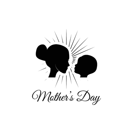 Mother with her baby silhouette. Mothers day greeting card. Vector illustration isolated on white background.