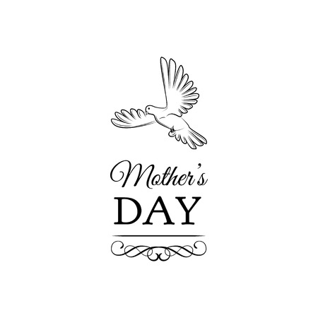 Mothers Day with bird, ornate frames and swirls illustration.