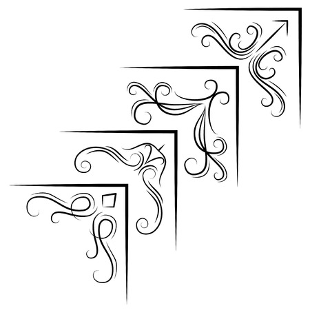 Vintage Corner elements. Swirls, filigree elements and ornate frames. Vector illustration. Design elements. Çizim