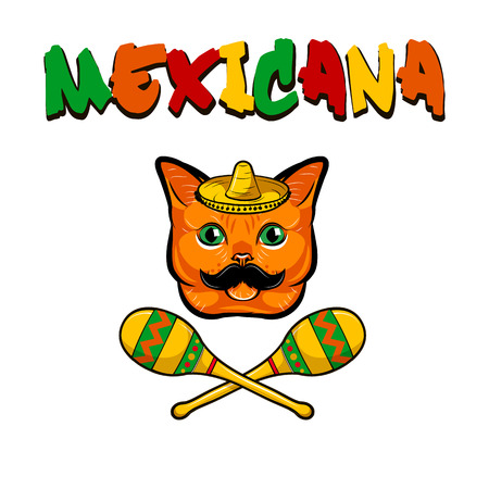 Red cat portrait with mustache with sombrero and maracas. Mexicana lettering vector illustration, isolated on white background. Illustration
