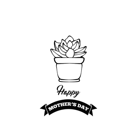 Happy mother's day greeting card with succulent. Vector illustration, isolated on white background. Illustration