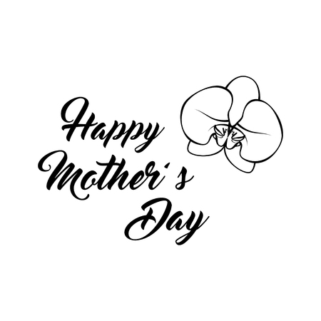 Mother s Day greeting card with Orchid. Vector illustration isolated on white background.