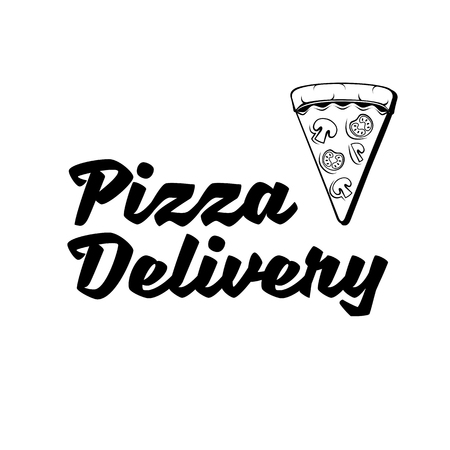 Pizza delivery logo. Flat pizza delivery banner. Fast food. Pizza piece icon. Vector illustration.