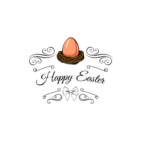 Easter painted egg in a nest decorated with swirls, bow and ornate frames. Vintage vector illustration, isolated on white background.