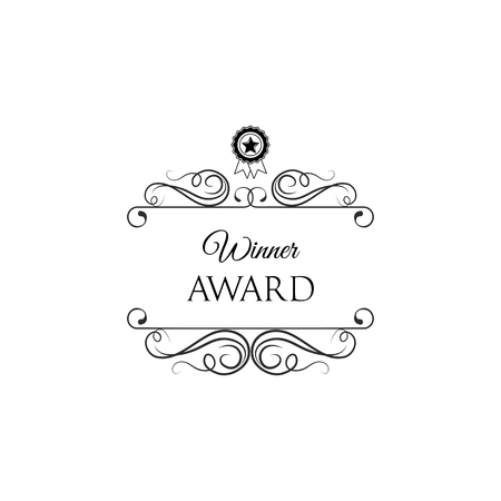 Medal with star. Winner award badge with swirls, filigree elements and ornate frames. Vector illustration isolated on white background. Illustration