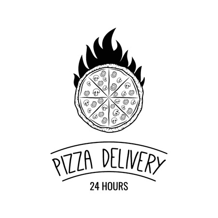 Pizza in fire icon. Pizza rack. Stand for pizza. Pizza delivery label. Pizzeria logo. Vector illustration.