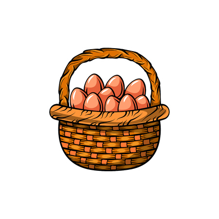 Basket with easter eggs. Vector illustration isolated on white background.