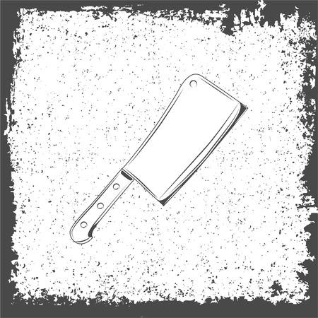 Meat cleaver knife icon. Vintage vector illustration.