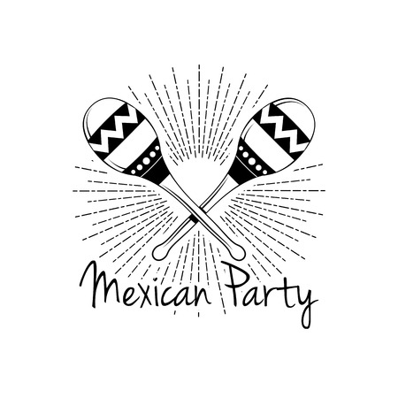 Mexican Party. Maracas in beams icon. Vector illustration isolated on white background.