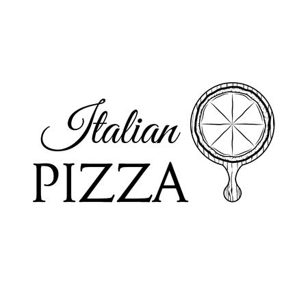 Pizza on a wooden shovel. Italian Pizza icon. Pizzeria label. Pizza delivery icon vector illustration.