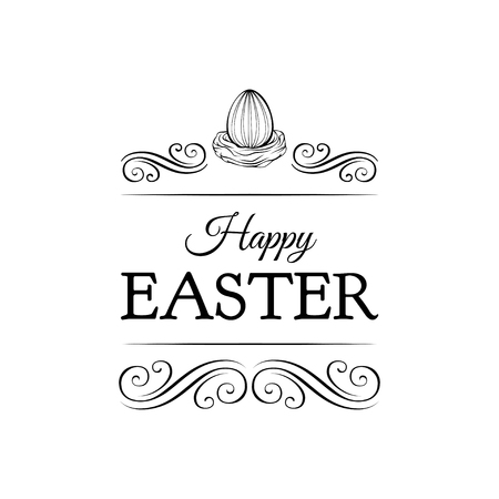 Easter egg in a nest with text - Happy Easter. Swirls, ornate frames and filigree elements. Vector illustration isolated on white background.