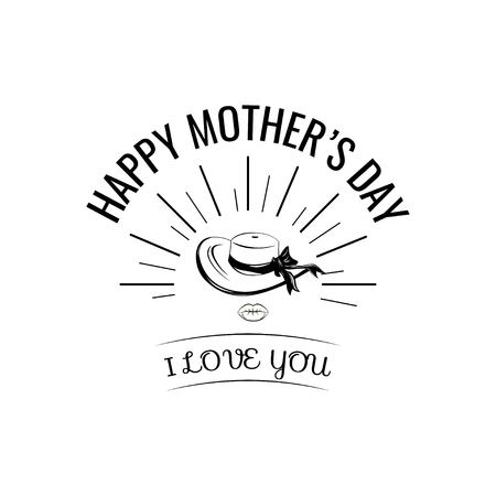 Wide-brimmed hat. Mother s day greeting card. I love you lettering. Vector illustration isolated on white backgroung.