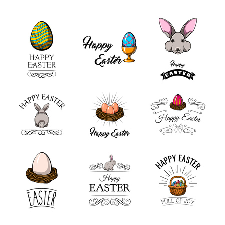 Big collection of Happy Easter objects. Vector Illustration. Иллюстрация