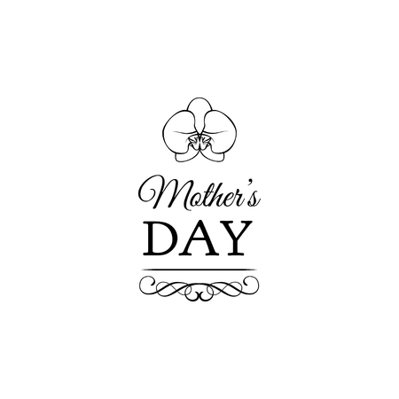Orchid Mothers Day card in vector format. Swirls, ornate frames, and filigree elements.  イラスト・ベクター素材