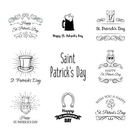 Saint Patrick s Day traditional symbols set. Irish music, flags, beer mugs, clover, pub decoration, rainbow, leprechaun hat, pot of gold coins. Illustration