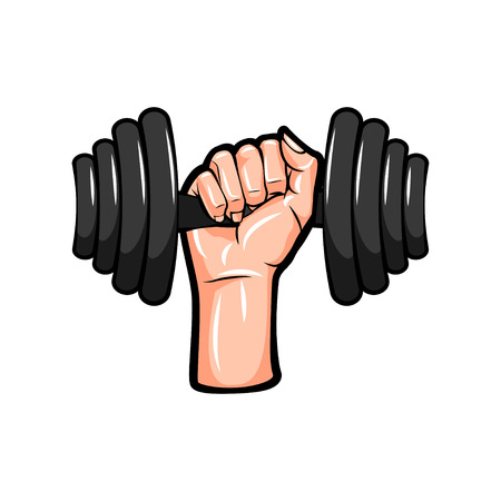 Dumbbell in hand icon. Vector illustration isolated on white background.