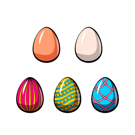 Set of cute various colorful painted Easter eggs Ilustração