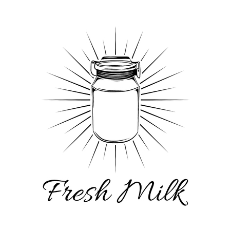 Milk can in beams. Milk jug. Milk bottle. Dairy Farm. Fresh milk lettering. Vector illustration isolated on white background.