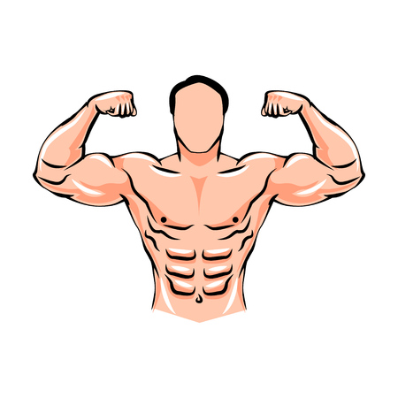 Athlete male weightlifter. Bodybuilding. Advertising fitness sports. Beautiful and strong muscles. Silhouette, coloring, sketch, sketch, health Powerful strong man Vector illustration Illustration