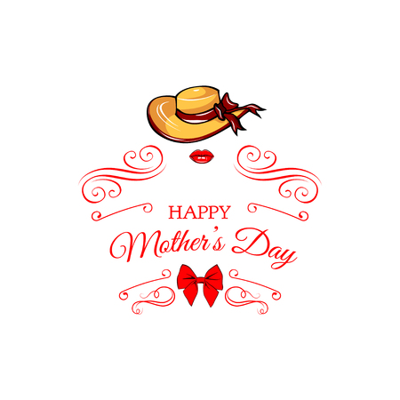 Happy Mother s day wide-brimmed hat, bow and lips greeting card. Vector illustration isolated on white backgroung. Swirly lines, flourish and filigree elements. Illustration