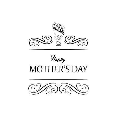 Tulips with Happy Mother s Day gift card. Tulips bouquet. Vector illustration. Swirly lines, filigree elements. Ilustração