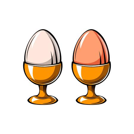 卵ホルダーアイコン。卵カップ。ベクターの図。[デザイン] メニュー